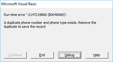 duplicate phone error